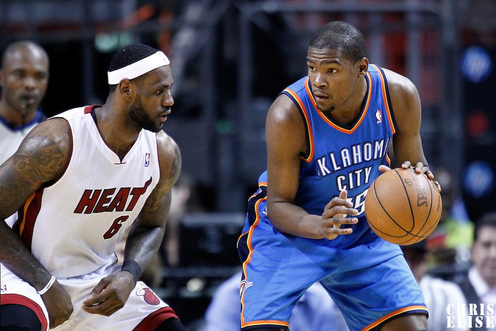 16 March 2011: Miami Heat small forward LeBron James (6) defends on Oklahoma City Thunder small forward Kevin Durant (35) during the Oklahoma City Thunder 96-85 victory over the Miami Heat at the AmericanAirlines Arena, Miami, Florida, USA.