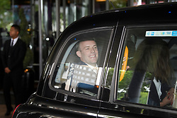 © Licensed to London News Pictures. 15/06/2019. London, UK. Leadership candidate DOMINIC RAAB MP is seen leaving a leadership hustings in Westminster, central London in a taxi. Former Foreign Secretary and figurehead of the leave campaign, Boris Johnson has cemented his position as favourite to become the next Prime Minster after winning a landslide in the first round of the conservative party's leadership race. Photo credit: Ben Cawthra/LNP