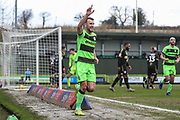 Forest Green Rovers Christian Doidge(9) scores a goal 2-0 and celebrates during the EFL Sky Bet League 2 match between Forest Green Rovers and Yeovil Town at the New Lawn, Forest Green, United Kingdom on 16 February 2019.