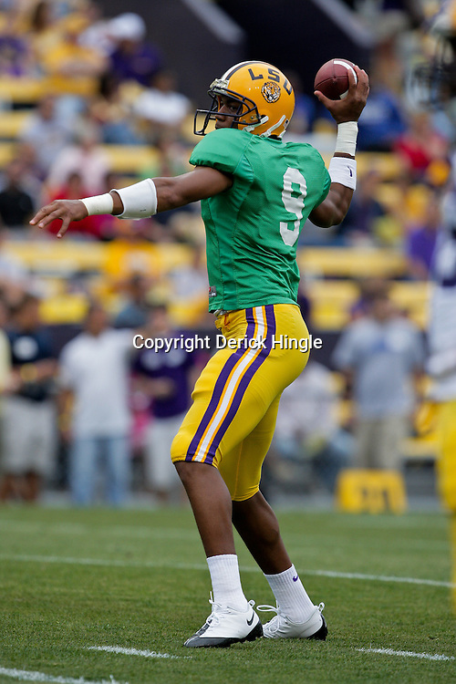 18 April 2009: LSU Tigers quarterback Jordan Jefferson (9) throws a pass during the 2009 LSU spring football game at Tiger Stadium in Baton Rouge, LA.