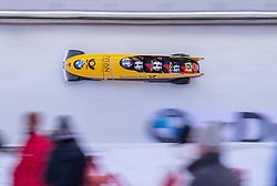 20.01.2019, Olympia Eiskanal, Innsbruck, AUT, BMW IBSF Weltcup Bob, Igls, Herren Viersitzer, 2. Lauf, im Bild Pilot Johannes Lochner mit Florian Bauer, Marc Rademacher, Christian Rasp (GER, 3. Platz) // third placed Bobsleigh with Pilot Johannes Lochner and Florian Bauer Marc Rademacher Christian Rasp of Germany in action during the 2nd run of men's four-man Bobsleigh of the BMW IBSF Bob World Cup at the Olympia Eiskanal in Innsbruck, Austria on 2019/01/20. EXPA Pictures © 2019, PhotoCredit: EXPA/ Johann Groder