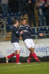 Falkirk's Lyle Taylor (9) cele scoring their second goal..Falkirk 2 v 0 Livingston, 19/2/2013..©Michael Schofield.