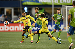 March 1, 2018 - Seattle, Washington, U.S - Soccer 2018: Santa Tecla defenders apply pressure on Seattle Sounder midfielder MAGNUS WOLFF EIKREM (22) as Santa Tecla FC visits the Seattle Sounders for a CONCACAF match at Century Link Field in Seattle, WA. Seattle won the match 4-0. (Credit Image: © Jeff Halstead via ZUMA Wire)