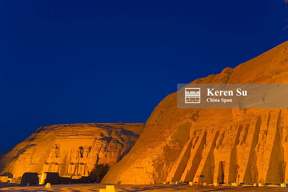 Abu Simbel Temples, night view, near Aswan, Egypt