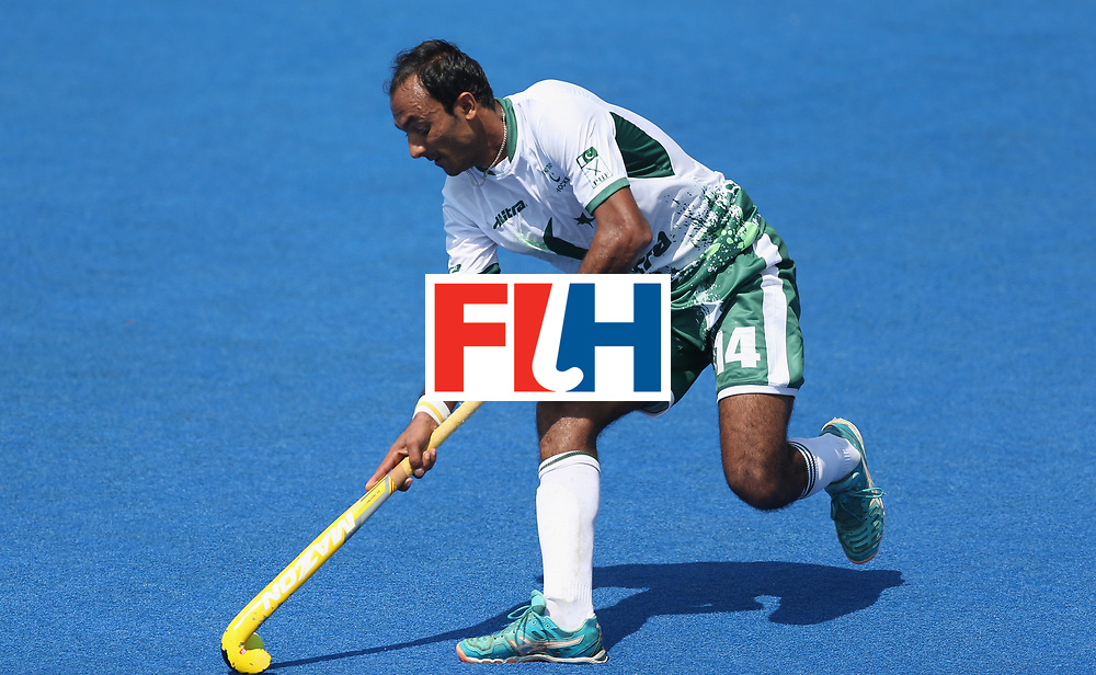LONDON, ENGLAND - JUNE 19:  Muhammad Umar Bhutta of Pakistan during the Hero Hockey World League Semi-Final match between Scotland and Pakistan at Lee Valley Hockey and Tennis Centre on June 19, 2017 in London, England.  (Photo by Alex Morton/Getty Images)