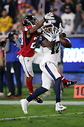 Atlanta Falcons cornerback Robert Alford (23) breaks up a late fourth quarter deep pass intended for Los Angeles Rams wide receiver Sammy Watkins (12) during the 2018 NFC Wild Card NFL playoff football game against the Los Angeles Rams, Saturday, Jan. 6, 2018 in Los Angeles. The Falcons won the game 26-13. (©Paul Anthony Spinelli)