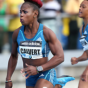 Schillonie Calvert, Jamaica, in action in  the BMW Women's 100m during the Diamond League Adidas Grand Prix at Icahn Stadium, Randall's Island, Manhattan, New York, USA. 14th June 2014. Photo Tim Clayton