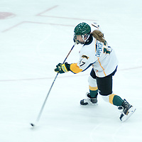 1st year forward Lilla Carpenter-Boesch (17) of the Regina Cougars in action during the Women's Hockey home game on October 8 at Co-operators arena. Credit: Arthur Ward/Arthur Images