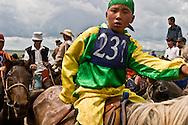 Mongolia. arrival ; the horse race during the big Naadam in Hundlun bulag, the annual big race for the anniversary of   Ulanbaatar /  arrivee. les grandes courses de chevaux du grand naadam a  HUNDLUN bulag ; les grandes courses annuelles  oulan Bator - Mongolie   /   L0009340D
