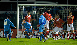 San Marino, San Marino - Wednesday, October 17, 2007: Wales' defensive wall cannot prevent San Marino's captain Andy Selva scoring during the Group D UEFA Euro 2008 Qualifying match at the Serravalle Stadium. (Photo by David Rawcliffe/Propaganda)