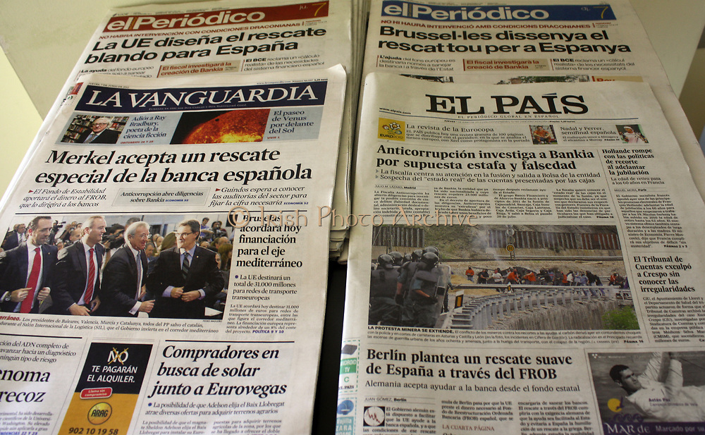 Spanish Newspapers. An image showing four different Spanish Newspapers. Madrid. Spain 2013