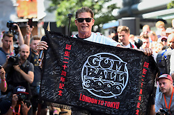 © Licensed to London News Pictures. 05/08/2018. LONDON, UK. David Hasselhoff, actor, joins the other entrants. Gumball 3000, a charity rally for supercars and more, including celebrity entrants, begins in Covent Garden with 150 participants beginning their journey from London to Tokyo.  Photo credit: Stephen Chung/LNP
