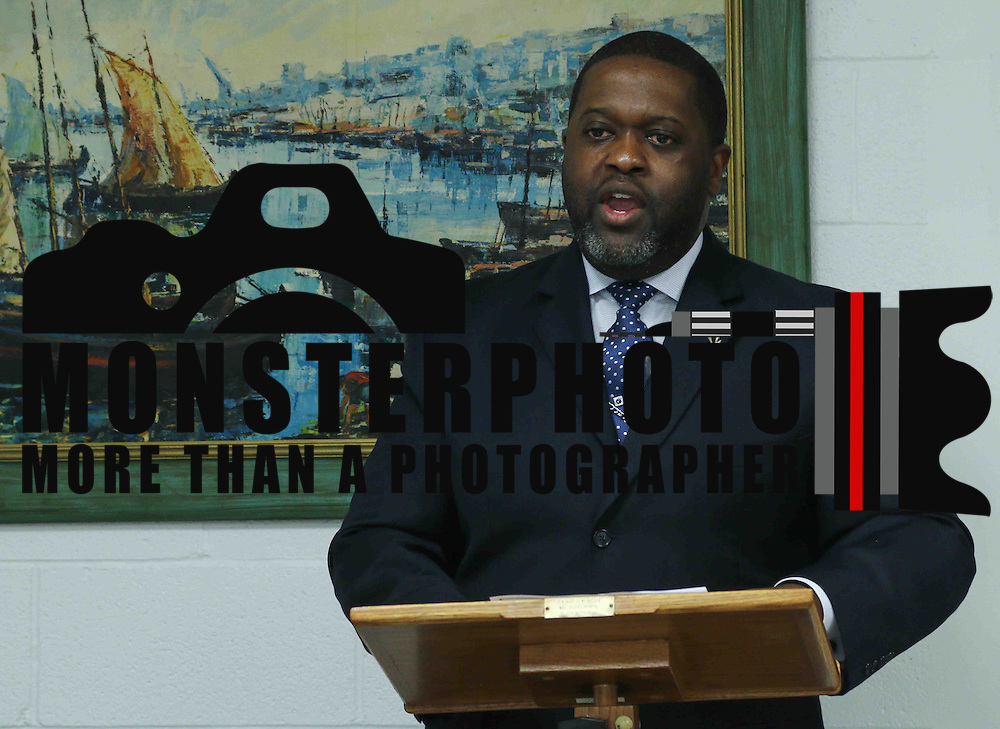 Pastor, Reverend Christopher T. Curry addresses media during a press conference to announce investigation into allegations of racism in Delaware state govt Tuesday, June 09, 2015, at The Redding House in Wilmington, Delaware.