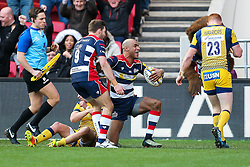 Tom Varndell of Bristol Rugby celebrates scoring his 2nd try - Rogan Thomson/JMP - 26/12/2016 - RUGBY UNION - Ashton Gate Stadium - Bristol, England - Bristol Rugby v Worcester Warriors - Aviva Premiership Boxing Day Clash.