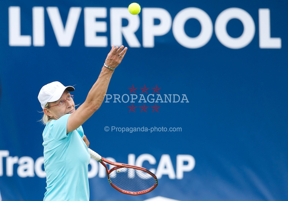 LIVERPOOL, ENGLAND - Friday, June 17, 2011: Martina Navratilova (USA) in action during day two of the Liverpool International Tennis Tournament at Calderstones Park. (Pic by David Rawcliffe/Propaganda)