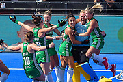 Ayeisha McFerran goalkeeper of Ireland (19) celebrates winning the shoot out with team mates during the Vitality Hockey Women's World Cup 2018 Semi-Final match between Ireland and Spain at the Lee Valley Hockey and Tennis Centre, QE Olympic Park, United Kingdom on 4 August 2018. Picture by Martin Cole.