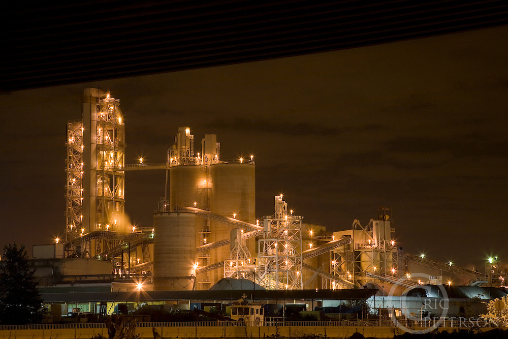 industrial lights at night of recycle facility, Seattle, WA