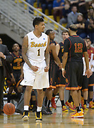 Dec 19, 2013; Long Beach, CA, USA; Long Beach State 49ers guard Tyler Lamb (1) celebrates during the game against the Southern California Trojans at Walter Pyramid. Long Beach State defeated USC 72-71.