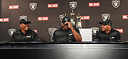 April 26, 2019: Alameda, CA, United States:  Josh Jacobs(left), Clelin Ferrell (center) and Johnathan Abram (right) the Oakland Raiders 1st round selections of the 2019 NFL draft at a press conference at the RaidersHeadquarters. (Gerome Wright/Image of Sport)