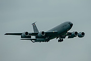 A US Air Force Boeing KC-135 Stratotankerat on final approach at RAF Mildenhall on 10 June 2020.
