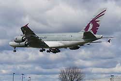 Heathrow Airport, London, March 28th 2016. A Qatar Airbus A380, registration A7-APA, about to land at London Heathrow.