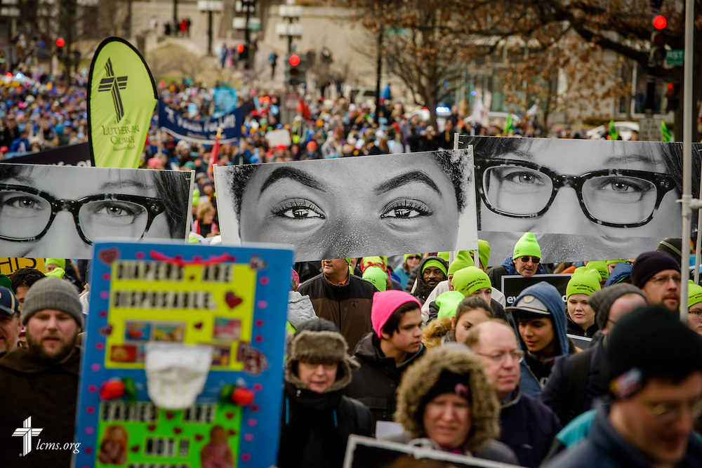 Lutherans participate with Eyes of Life signs during the March for Life 2017 on Friday, Jan. 27, 2017, in Washington, D.C. LCMS Communications/Erik M. Lunsford