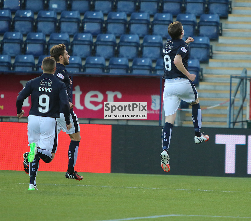 Blair Alston jumps for joy after opener during the Falkirk FC v Dumbarton FC  Scottish Championship 28th August 2015 <br /> <br /> (c) Andy Scott | SportPix.org.uk