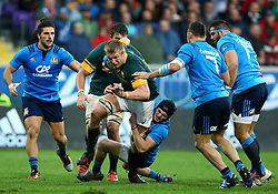 November 19, 2016 - Rome, Italy - Carlo Canna (I) tackling on Pieter-Steph du Toit (S)  during the international match between Italy v South Africa at Stadio Olimpico on November 19, 2016 in Rome, Italy. (Credit Image: © Matteo Ciambelli/NurPhoto via ZUMA Press)