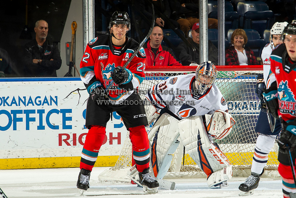 KELOWNA, BC - OCTOBER 12: Dylan Garand #31 of the Kamloops Blazers defends the net behind Dillon Hamaliuk #22 of the Kelowna Rockets at Prospera Place on October 12, 2019 in Kelowna, Canada. (Photo by Marissa Baecker/Shoot the Breeze)