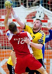 Ales Smejc vs Matjaz Mlakar of Gorenje at handball match of MIK 1st Men league between RD Slovan and RK Gorenje Velenje, on May 16, 2009, in Arena Kodeljevo, Ljubljana, Slovenia. Gorenje won 27:26. (Photo by Vid Ponikvar / Sportida)