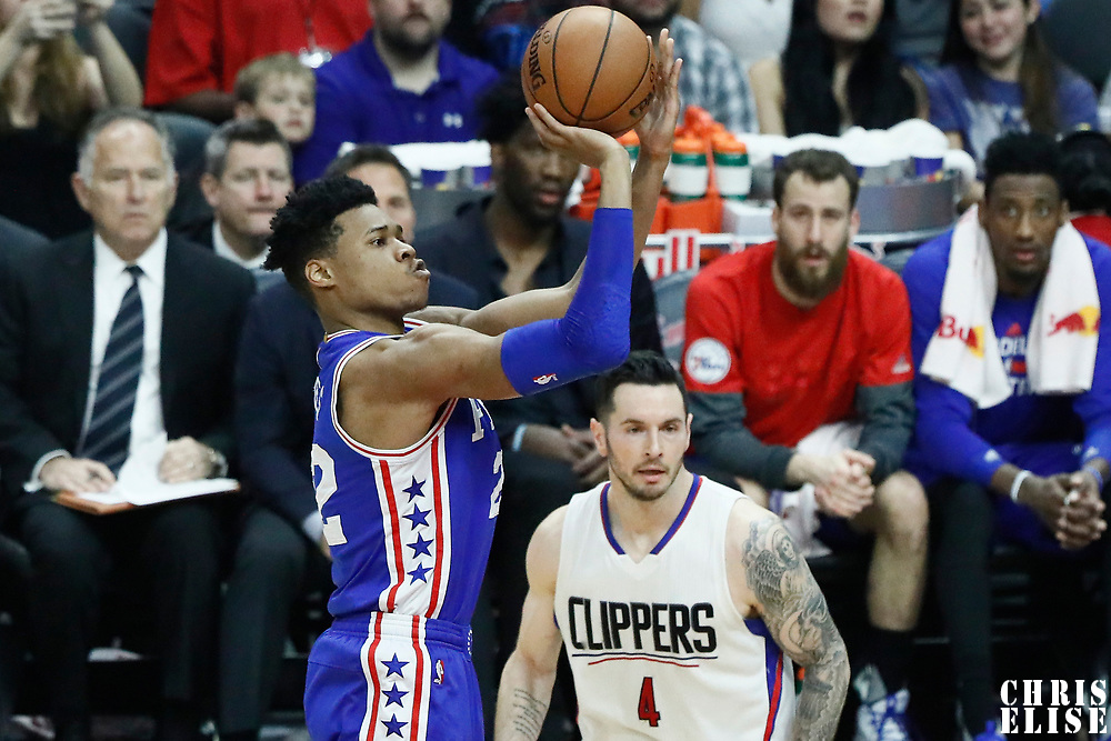 11 March 2017: Philadelphia 76ers forward Richaun Holmes (22) takes a jump shot during the LA Clippers 112-100 victory over the Philadelphia Sixers, at the Staples Center, Los Angeles, California, USA.