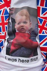 © London News Pictures. 03/04/15. London, UK. Terry Hutt wears a t-shirt with a photo of Prince George while he waits outside the Lido Wing for the birth of the second child of the Duke and Duchess of Cambridge, St Mary's Hospital, Central London. Photo credit: Laura Lean/LNP