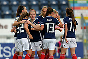 Kim Little (#8) of Scotland congratulates Erin Cuthbert (#22) of Scotland on scoring Scotland's first goal (1-1) during the FIFA Women's World Cup UEFA Qualifier match between Scotland Women and Belarus Women at Falkirk Stadium, Falkirk, Scotland on 7 June 2018. Picture by Craig Doyle.