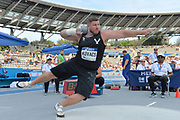 Joe Kovacs (USA) places second in the shto put at 72-6½ (22.11m) during the Meeting de Paris, Saturday, Aug. 24, 2019, in Paris. (Jiro Mochizuki/Image of Sport via AP)