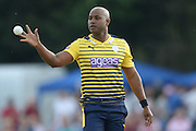 Hampshire pace bowler Tino Best during the NatWest T20 Blast South Group match between Middlesex County Cricket Club and Hampshire County Cricket Club at Uxbridge Cricket Ground, Uxbridge, United Kingdom on 27 May 2016. Photo by David Vokes.
