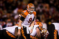 15 December 2007: Quarterback Carson Palmer of the Cincinnati Bengals calls an audible against the San Francisco 49ers during the first half of the 49ers 20-13 victory over the Bengals at Monster Park in San Francisco.