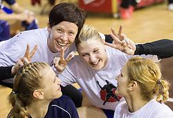 Barbara Varlec Lazovic, Sergeja Stefanisin, Tamara Mavsar and Neli Irman during practice session of Slovenian Women handball National Team three days before match against Serbia, on October 24, 2013 in Arena Tivoli, Ljubljana, Slovenia. (Photo by Vid Ponikvar / Sportida)