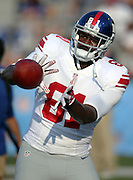 New York Giants tight end Adrien Robinson (81) catches a pre game pass before the 2014 NFL Pro Football Hall of Fame preseason football game against the Buffalo Bills on Sunday, Aug. 3, 2014 in Canton, Ohio. The Giants won the game 17-13. ©Paul Anthony Spinelli