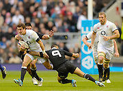 Twickenham, United Kingdom, England's ,Lee DICKSON is tackled by left, Keven MEALAMU and right Arron SMITH,  during the 2013 QBE  AutumnRugby International, England vs New Zealand, played  Saturday  16/11/2013 at the RFU Stadium Twickenham,<br /> England. [Mandatory Credit: Peter Spurrier/Intersport<br /> Images}