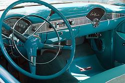7 August 2010: 1956 Chevrolet Belair Antique Car show, David Davis Mansion, Bloomington Illinois