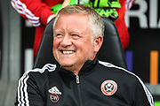 A smiling Sheffield United manager Chris Wilder during the Pre-Season Friendly match between Northampton Town and Sheffield United at the PTS Academy Stadium, Northampton, England on 20 July 2019.