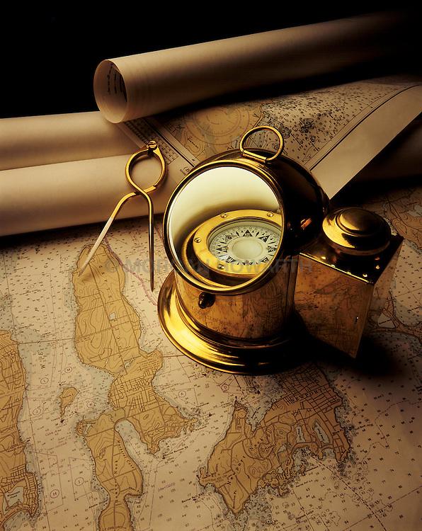 binnacle compass on maps