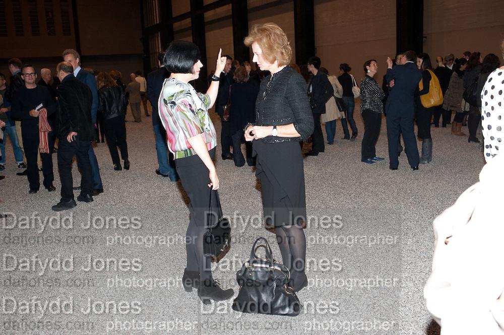 ALICE RAWTHORNE; JULIA PEYTON-JONES; , Ai Weiwei Unilever series opening. Tate Modern. 11 October 2010. -DO NOT ARCHIVE-© Copyright Photograph by Dafydd Jones. 248 Clapham Rd. London SW9 0PZ. Tel 0207 820 0771. www.dafjones.com.