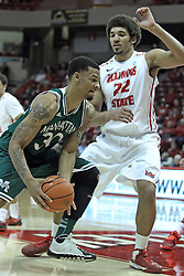 20 November 2013:  Reggie Lynch guards Ashton Pankey during an NCAA Non-Conference mens basketball game between theJaspers of Manhattan and the Illinois State Redbirds in Redbird Arena, Normal IL