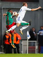 FOOTBALL: Jefferson Farfán (Lokomotiv Moskva) jumps with Denis Vavro (FC København) during the UEFA Europa League Group F match between FC København and FC Lokomotiv Moskva at Parken Stadium, Copenhagen, Denmark on September 14, 2017. Photo: Claus Birch