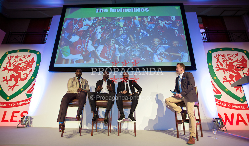 NEWPORT, WALES - Friday, May 29, 2015: Arsenal legends Sol Campbell, Patrick Vieira and Thierry Henry are interviewed by Sgorio presenter Dylan Ebenezer during the Football Association of Wales' National Coaches Conference 2015 at the Celtic Manor Resort. (Pic by David Rawcliffe/Propaganda)