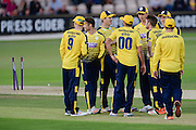 Hampshire Celebrate a wicket during the NatWest T20 Blast South Group match between Hampshire County Cricket Club and Somerset County Cricket Club at the Ageas Bowl, Southampton, United Kingdom on 29 July 2016. Photo by David Vokes.