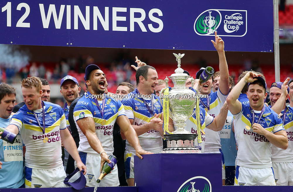PICTURE BY VAUGHN RIDLEY/SWPIX.COM - Rugby League - Challenge Cup Final 2012 - Leeds Rhinos v Warrington Wolves - Wembley Stadium, London, England - 25/08/12 - Warrington's Ryan Atkins and Adrian Morley celebrates victory.