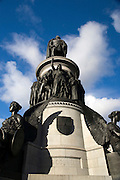 Monument to Daniel O'Connell, O'Connell Street Dublin, by John Henry Foley. The foundation stone was laid in 1864 and the monument unveiled to enormous crowds in 1882. O'Connell was known as the The Liberator or The Emancipator of Ireland.