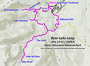 Topo map of Bear Lake Loop, hike 13 miles with 2600 feet gain, in Rocky Mountain National Park, Colorado, USA. Hike a classic loop from Bear Lake Trailhead with spur trails to many beautiful lakes, waterfalls and peaks. Walk a scenic circuit of well-graded paths 6-13 miles with 1500-2600 feet gain. We enjoyed looping counterclockwise from Bear Lake Trailhead 13 miles via Bear Lake, Nymph Lake, Dream Lake, Emerald Lake, Lake Haiyaha, The Loch, Lake of Glass, Sky Pond, Alberta Falls then back. Arrive early for parking or take the shuttle.